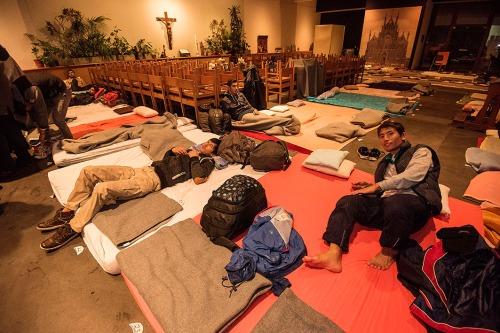 2015/11/18 belgium brussel: kerkasiel voor een honderdtal vluchtelingen in de sint-rochus kerk foto ivan put