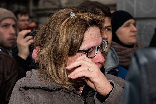 2016/03/23 brussel belgium : sfeer beurs na de aanslagen . 1 minuut stilte foto ivan put